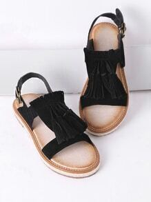 Sandalias planas con borlas - negro