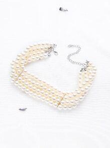 White Faux Pearl Layered Choker