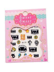 Pegatinas de uñas con estampado de diente de vampiro