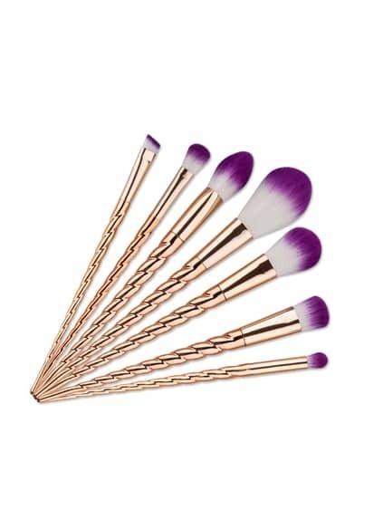 Brosse de maquillage de conception de licorne d'or 7PCS