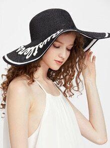 Sombrero de paja con ala ancha y parche de letra - negro