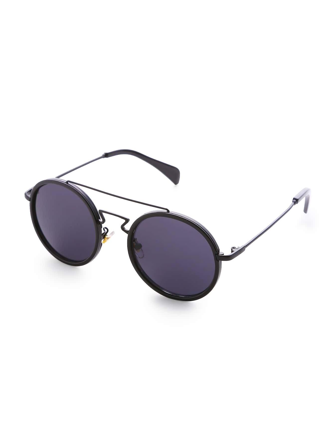 black frame double bridge round sunglassesfor women romwe. Black Bedroom Furniture Sets. Home Design Ideas