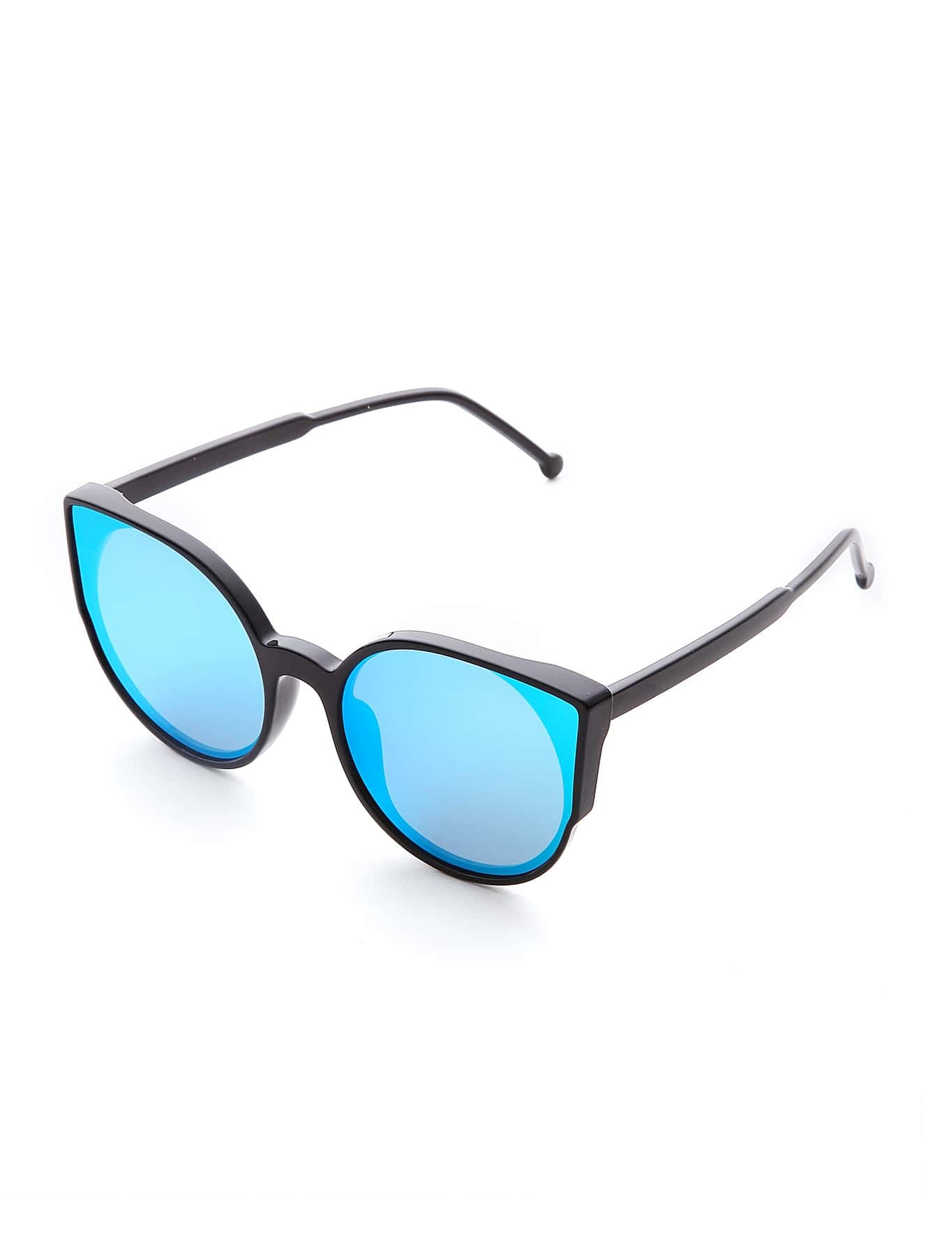 Black Frame Blue Lens Cat Eye Sunglasses