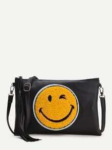 Black Emoji Clutches With Tassel