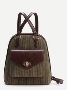Green Front Pocket Vintage Corduroy Backpack