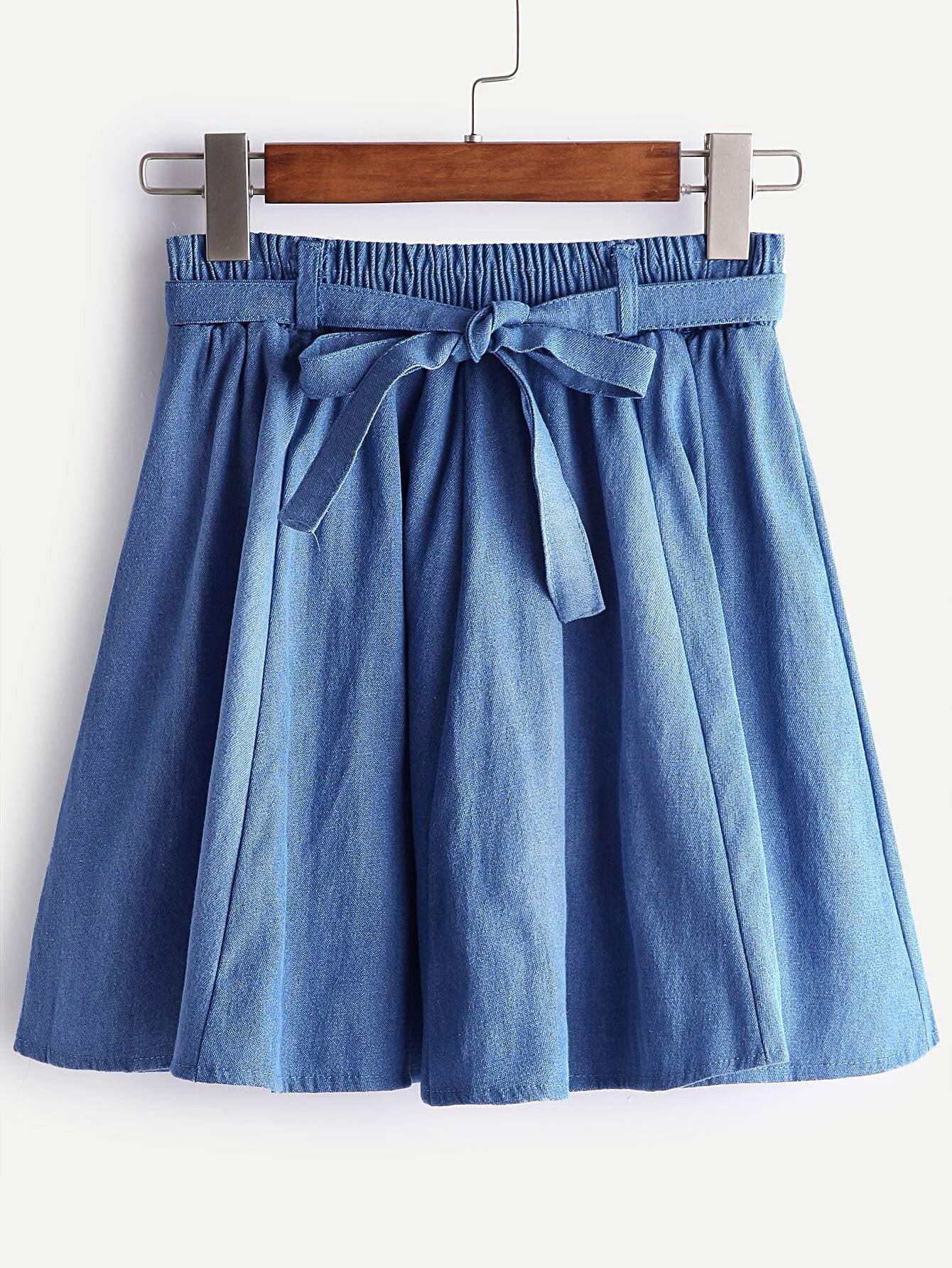 Dark Blue Bow Tie Pleated Denim Skirt