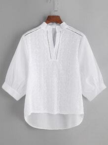 White High Low Crochet Detail Blouse