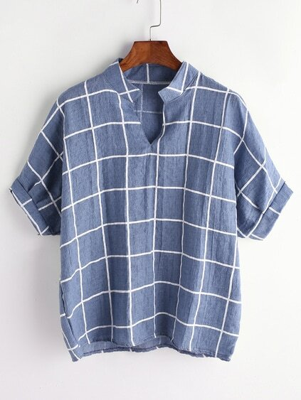 Blue Grid Print Dip Hem V Neck Blouse