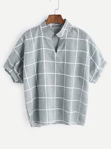 Blusa asimétrica de cuadrícula con cuello en V - verde