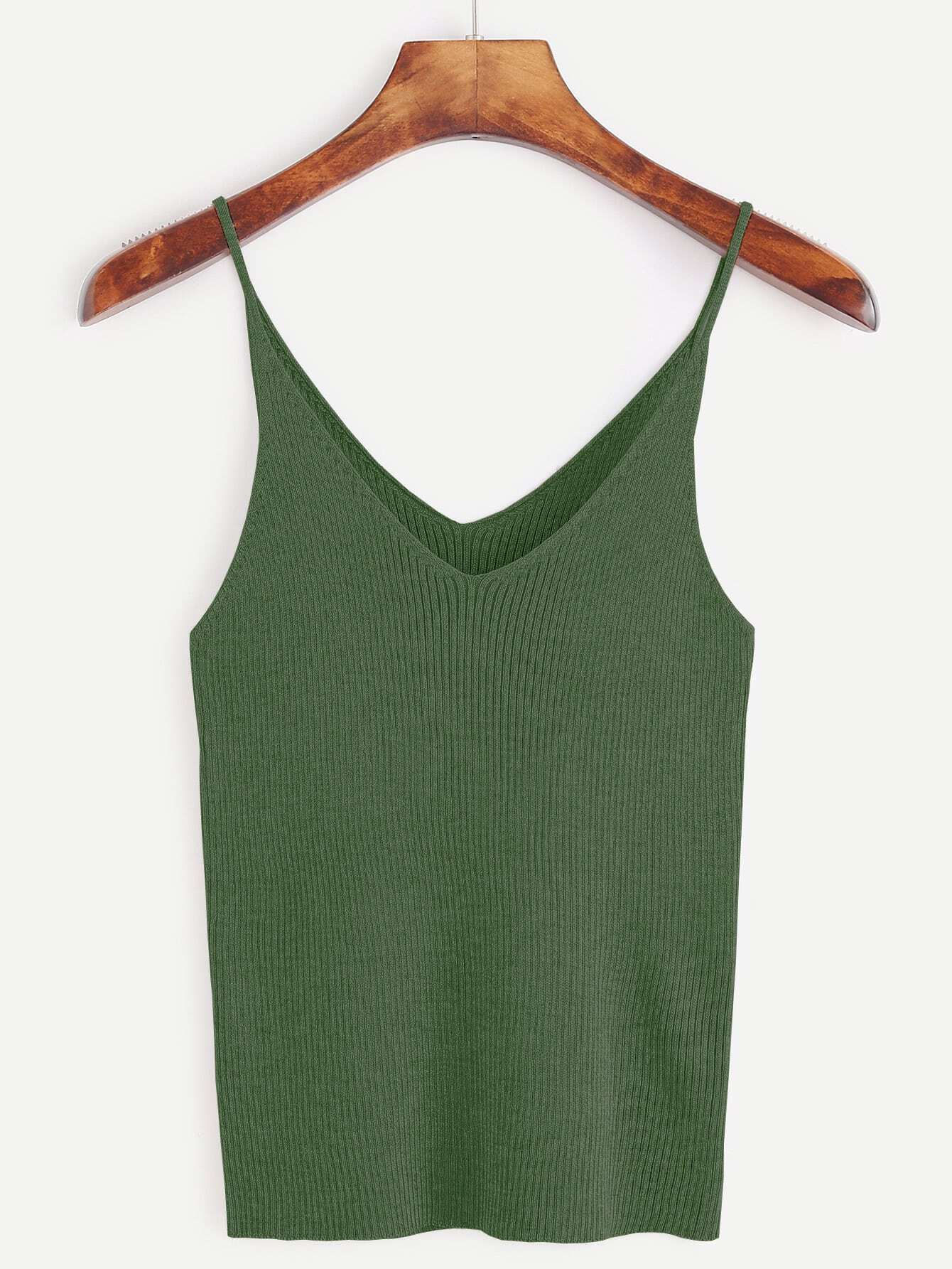 Army Green Ribbed Knit Cami Top