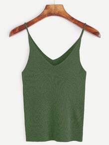 Army Green Ribbed Knit Cami Top