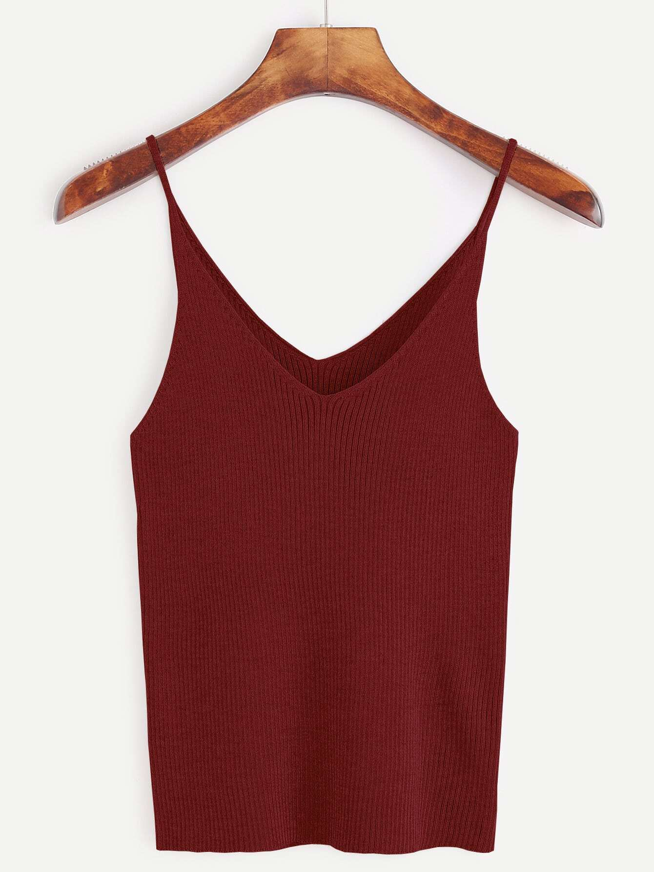 Burgundy Ribbed Knit Cami Top