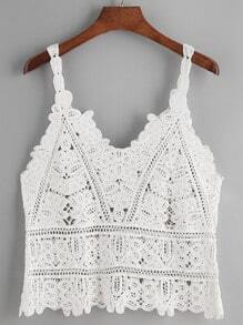 White Crochet Lace Hollow Out Cami Top