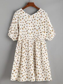 Beige Floral Print V Neck Lantern Sleeve Dress