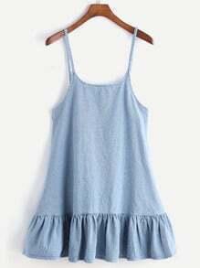 Vestido en denim con talle bajo - azul