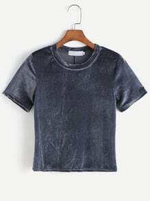 Camiseta de terciopelo y espalda con abertura - gris