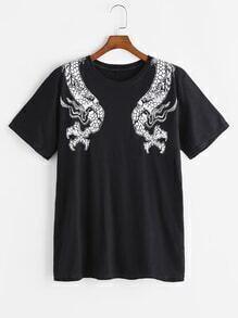 Camiseta con estampado de dragón - negro