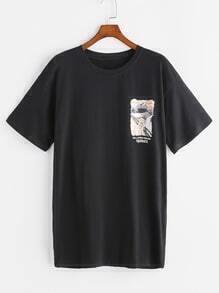 Camiseta con estampado de caricatura - negro