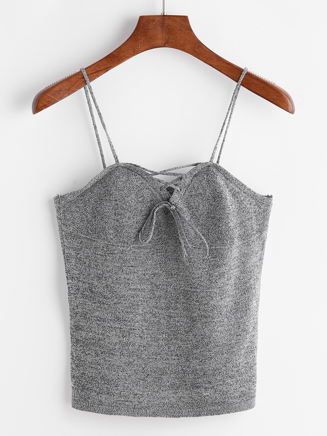 Grey Marled Lace Up Sweetheart Cami Top