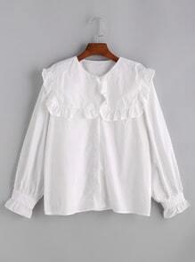 Blusa con cuello marinero con volantes - blanco