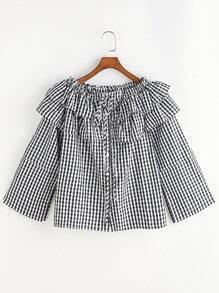 Checkered Boat Neck Tie Front Ruffle Blouse