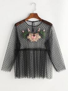 Black Embroidered Applique Buttoned Keyhole Dot Mesh Top
