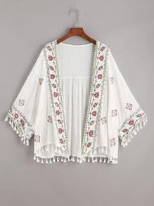 Kimono con bordado y ribete con flecos - blanco