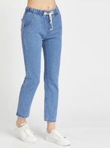 Light Blue Drawstring Waist Jeans