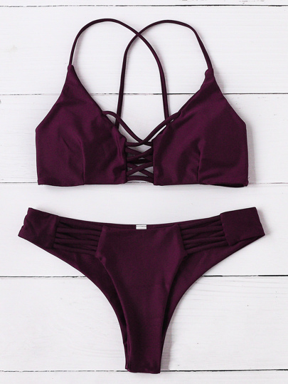 Burgund Criss Cross Design Bikini Set