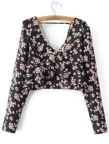 Black Floral Double V Neck Overlap Blouse