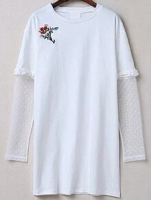 White Embroidery Contrast Mesh Sleeve Dress