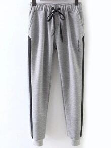 Pantalones de rayas laterales con cordón - gris