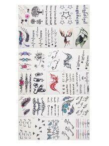 Set pegatinas de tatuaje con estampado de flor - multicolor