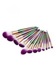 Set cepillo de maquillaje con diseño de escama -multicolor