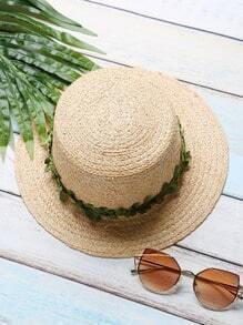 Sombrero de paja ribete con hoja en contraste - kaki