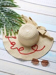 Sombrero con estampado de corazón y adornos de lazo - kaki