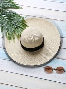 Sombrero de paja con ala ancha - kaki