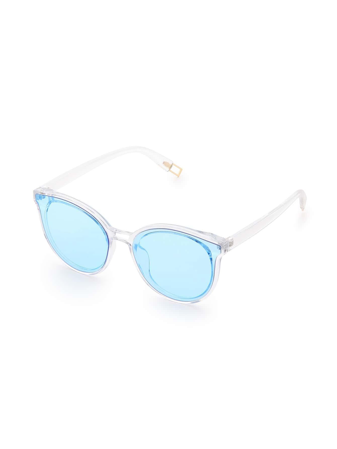 Clear Frame Blue Lens Sunglasses