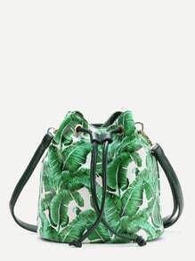Green Leaf Print Drawstring Bucket Bag