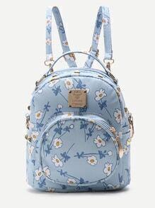Mochila de pu con estampado de flor y bolsillo en la parte delantera - azul