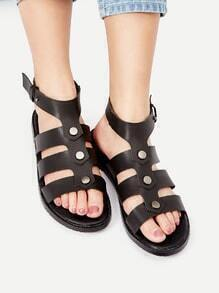 Sandales plates avec boucle noire