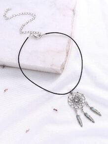 Plata hueco hacia fuera anillo y collar pendiente de la pluma