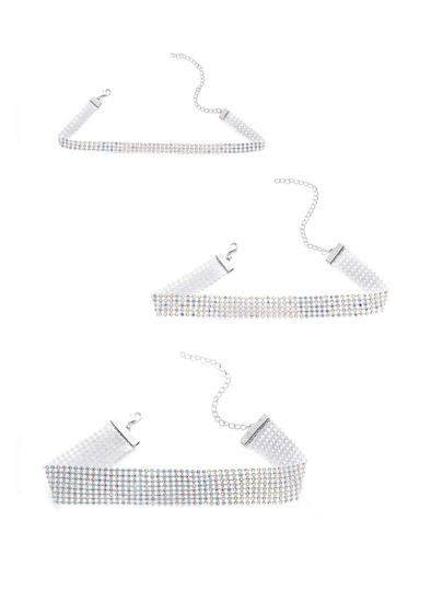 Multicolor Rhinestone Wide Choker Set