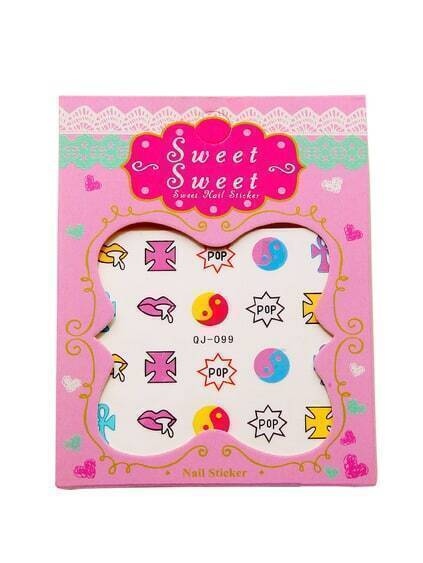 Letter Pattern Cute Nail Sticker