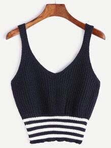 Navy Striped Hem Knit Tank Top