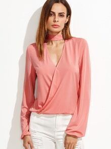 Pink Cut Out Choker Neck Wrap Blouse