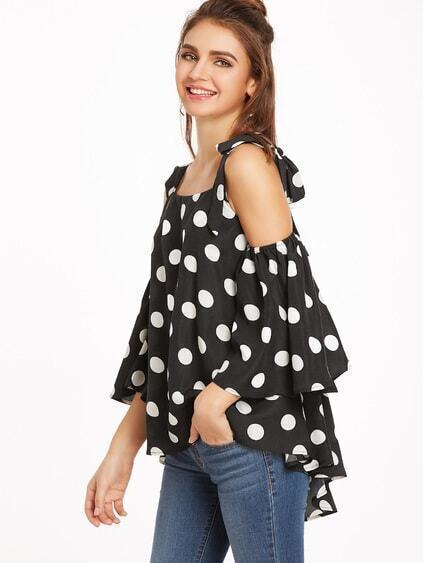 Black Polka Dot Cold Shoulder Bow Tie Blouse