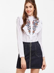 White Flower Embroidered Ruffle Trim Shirt