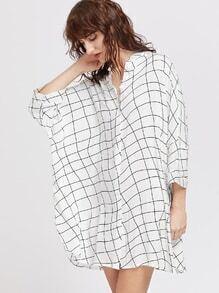 Irregular Plaid Batwing Shirt Dress
