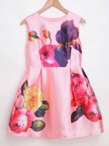 Pink Flower Print Zipper Back Sleeveless Dress
